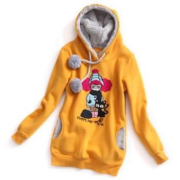 新珑新韩版秋季女装卡通可爱小女孩图案中长款卫衣09