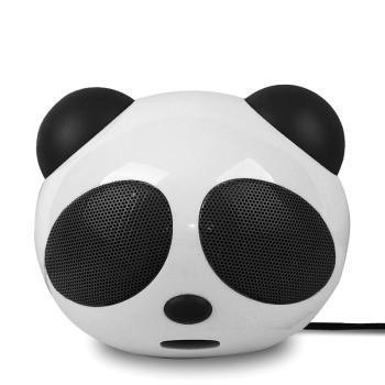 品怡萌萌哒 大熊猫外型高音质低音炮 可爱便携音箱 电脑桌面音箱 黑色