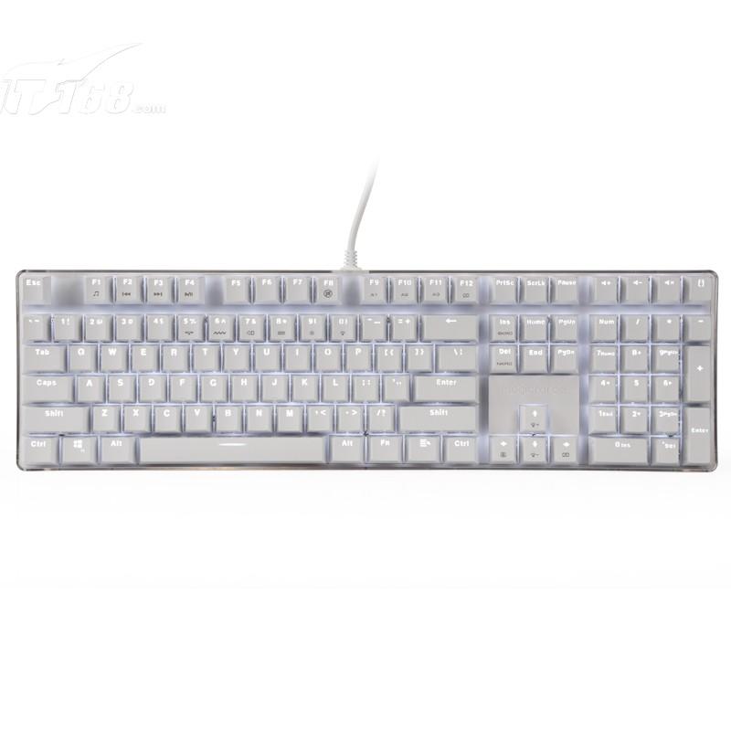 魔蛋108键机械键盘茶轴白色白灯键盘产品图片1