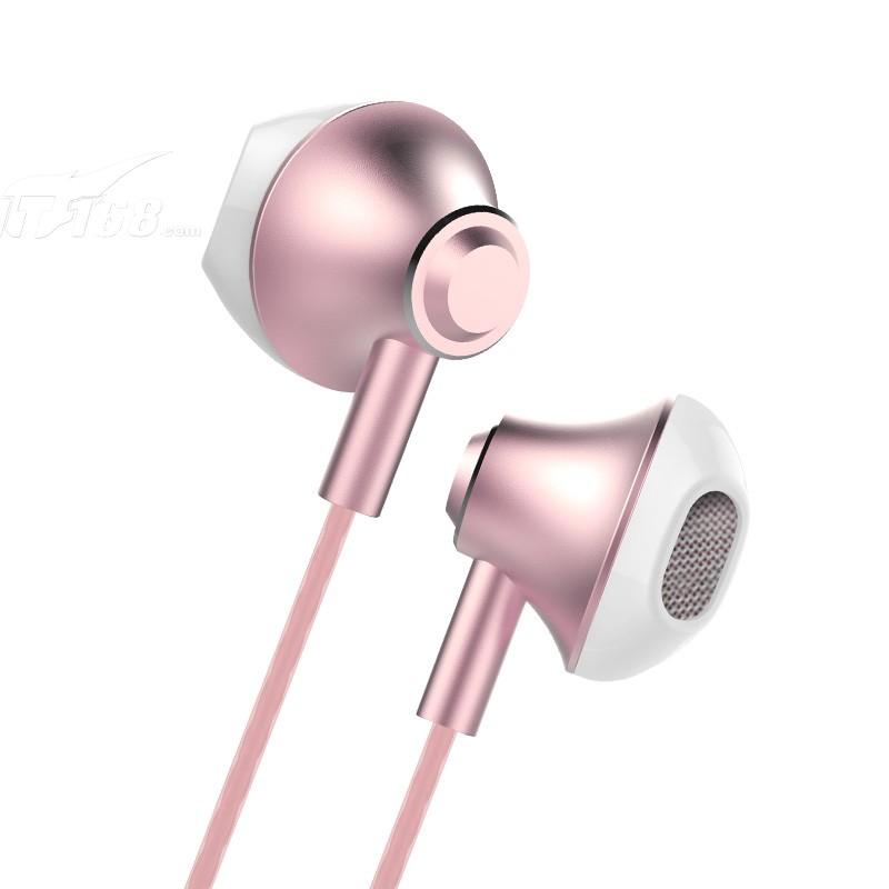 兰士顿f9耳机入耳式金属重低音唱歌带麦手机耳塞线电脑运动通用 玫瑰