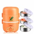 十度良品SD-967蒸煮电热饭盒 三层不锈钢内胆负压保鲜插电定时加热保温饭盒2.2L大容量