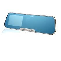 捷渡 高清1080夜视广角 迷你后视镜行车记录仪4.3寸屏 D600S 标准配置+32G卡+降压线