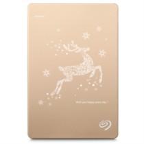 希捷  Backup Plus睿品(升级版)2T 2.5英寸 USB3.0移动硬盘 金色 梦幻驯鹿圣诞定制版