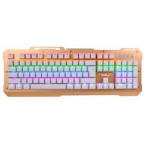 狼蛛 F2008 104键 混光跑马 机械键盘 游戏键盘 无冲突青轴(土豪金金属面板)