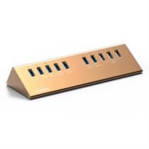 麦沃 KH110 10口USB3.0分线器高速一拖10口转换器HUB集线器 笔记本扩展多口带电源 土豪金色