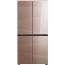 美菱 BCD-468WPBX 468升变频无霜十字对开门冰箱 底部散热 90度开门纤薄嵌入式 玻璃面板(流沙粉)