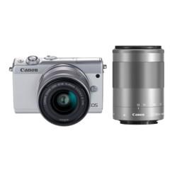 佳能 EOS M100 微型单电双头套机 白色 (EF-M 15-45mm )&(EF-M 55