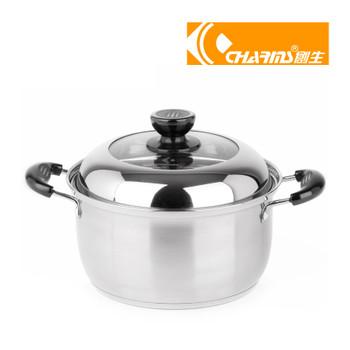 其他 创生 雅厨欧式不锈钢复底双耳汤锅奶锅高效磁炉可用锅子22cm bc