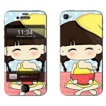 苹果4s卡通图案彩膜 iphone4/4s屏保彩贴 手机保护膜高清彩膜 西瓜