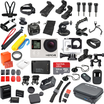 matty 银狗4 gopro hero4 silver运动相机 和相机配件大套装 电池