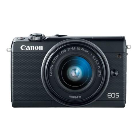 佳能EOS M100(15-45 IS STM/55-200 IS STM双镜头) 黑色整体外观图图片1